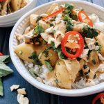 Thai Red Chicken Curry with New Potatoes and Roast Cashew Nuts