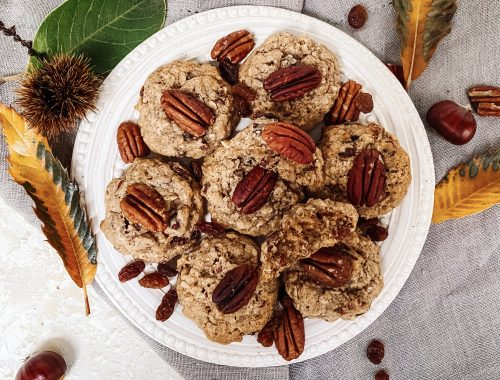 Photograph of Autumn Cookies with Pumpkin Spice, Oats, Pecan Nuts and Raisins