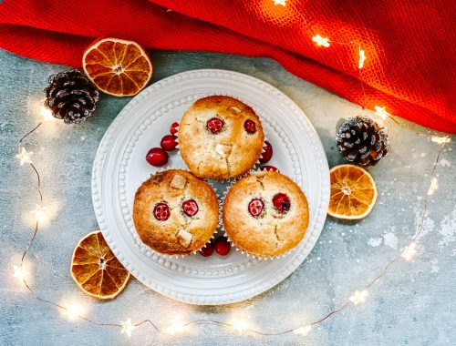 Photograph of White Chocolate, Cranberry and Orange Christmas Muffins